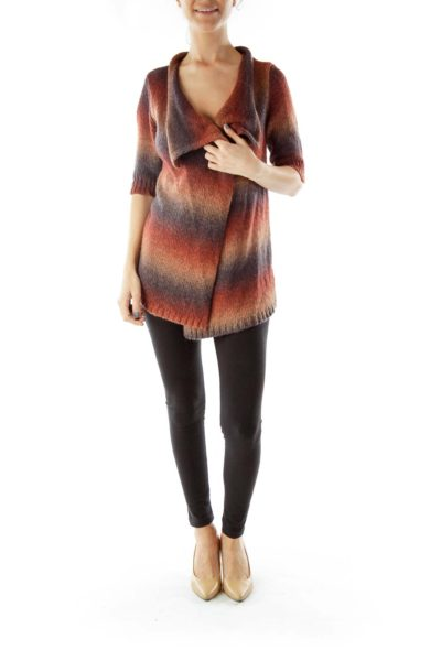 Multicolor Ombre Open Cardigan with Short Sleeves