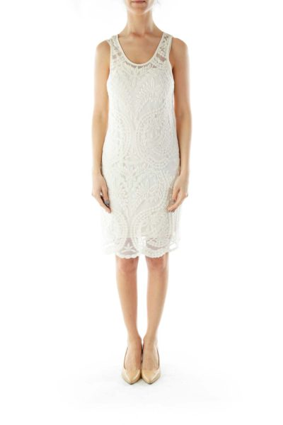 White Embroidered Layered Day Dress