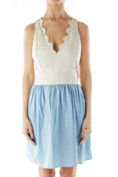 White Blue Lace Cut-Out Dress