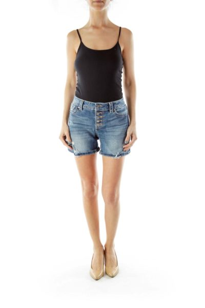 Blue White Buttoned Fly Distressed Mid-Rise Denim Shorts