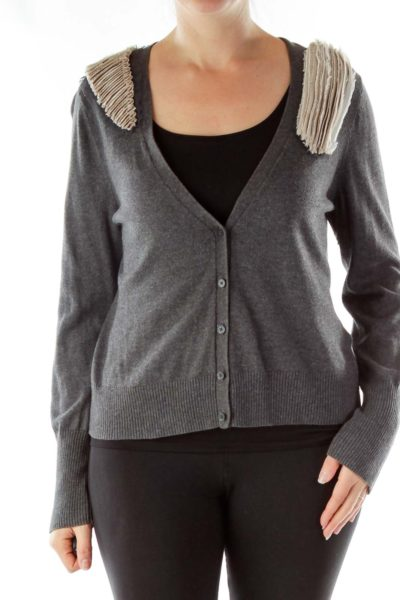 Gray Beige Ruffle Shoulder Cardigan