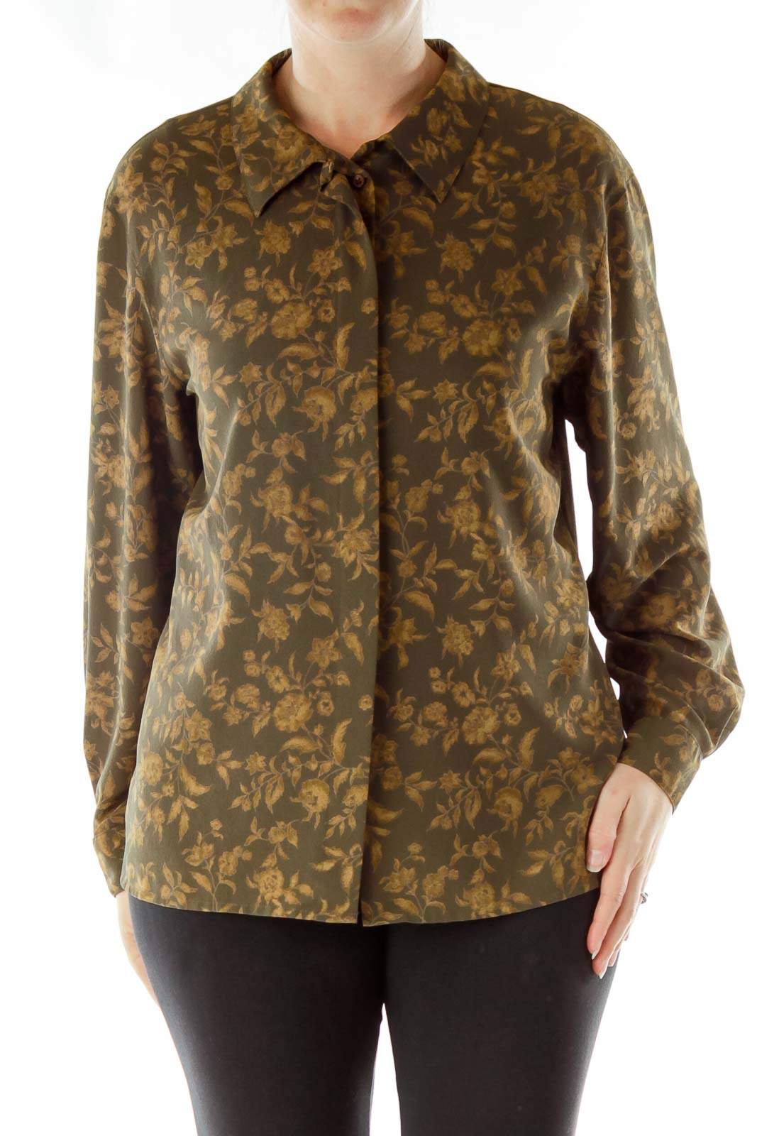 Green Gold Floral Print Blouse