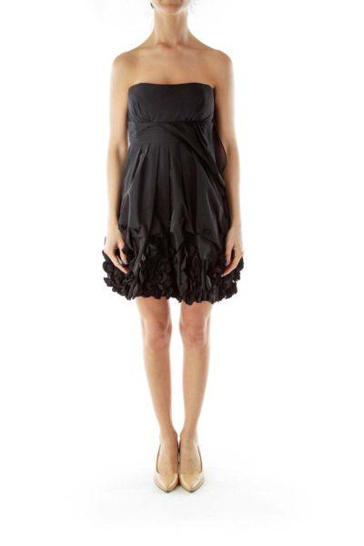 Black Strapless Ruffled Cocktail Dress