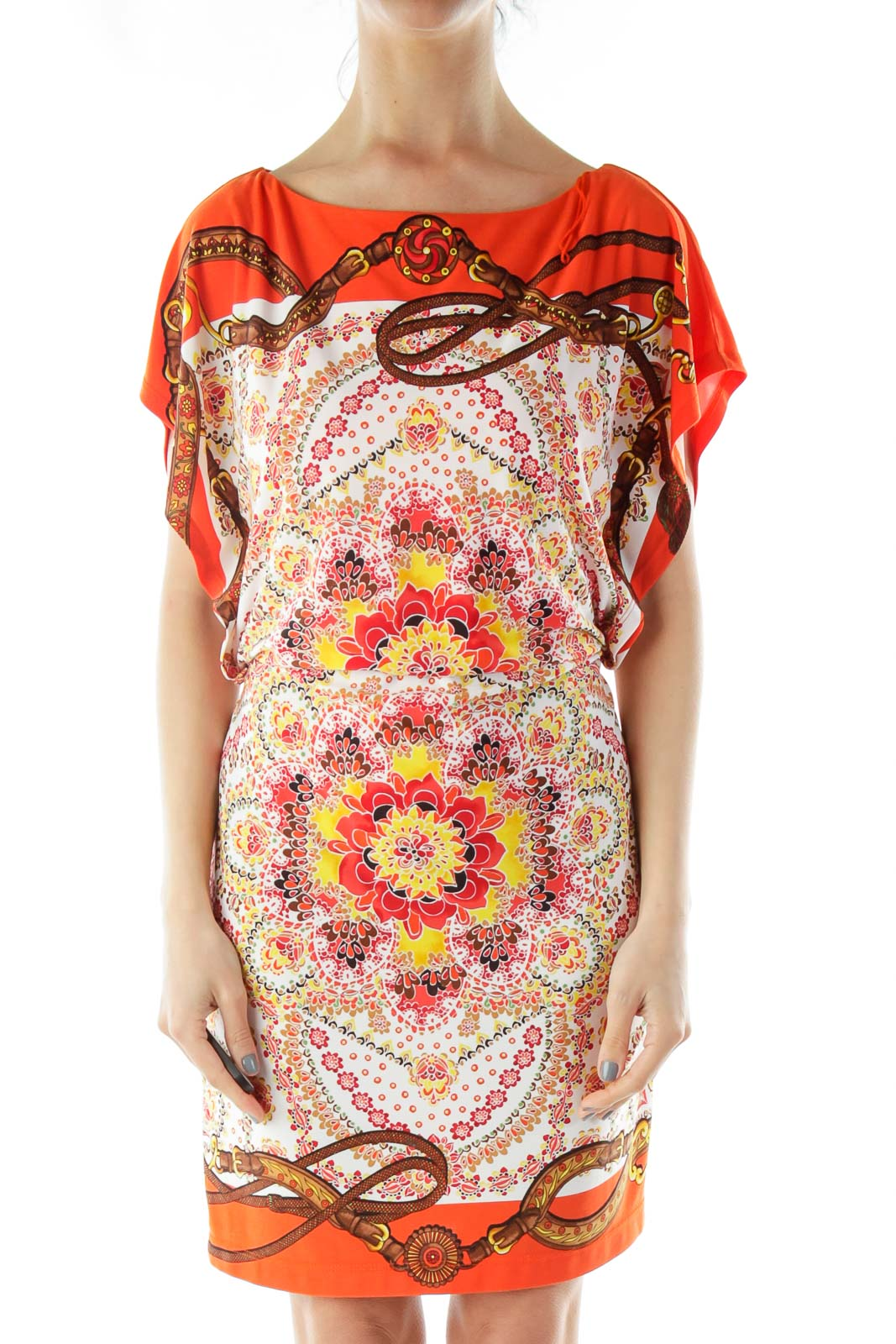 Orange Flower Print Dress