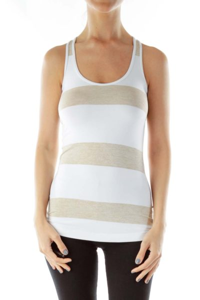 White Brown Yoga Tank Top