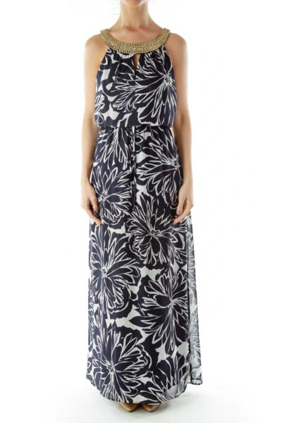 Black Gray Beaded Print Maxi Dress