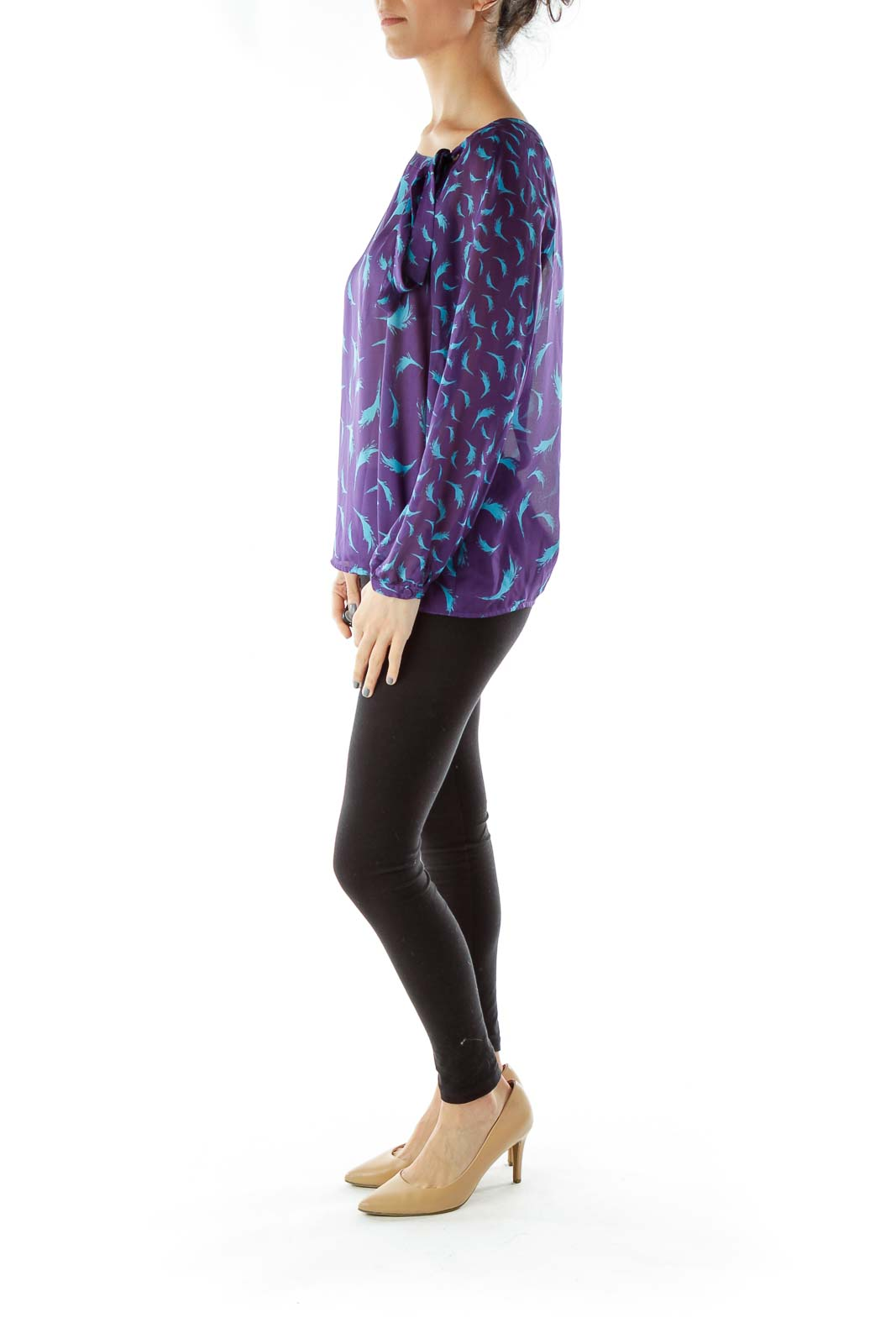 Purple Blue Printed Blouse