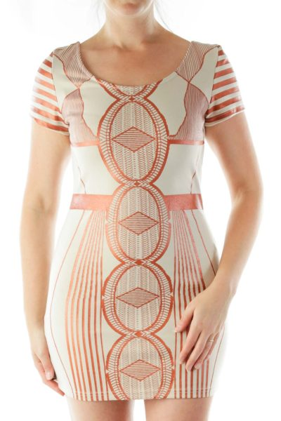 Beige Orange Metallic Dress