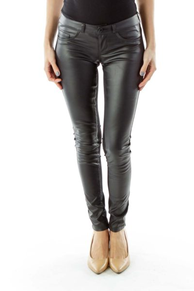 Black Faux-Leather Skinny Pants