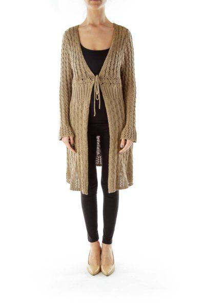 Beige Crocheted Sweater