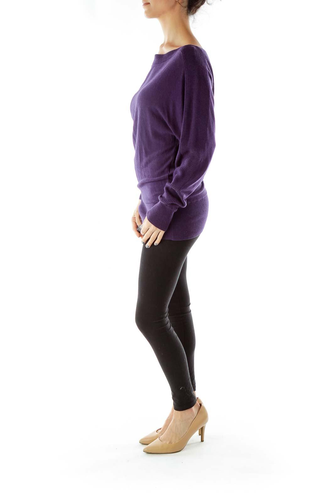 Purple Boat Neck Knit
