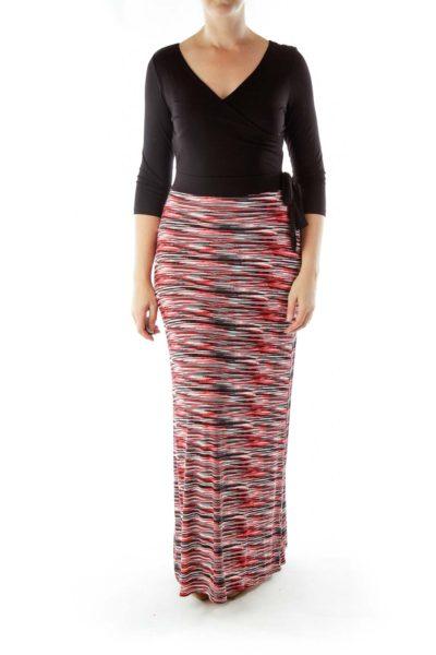 Black Red Long Sleeve Maxi Dress