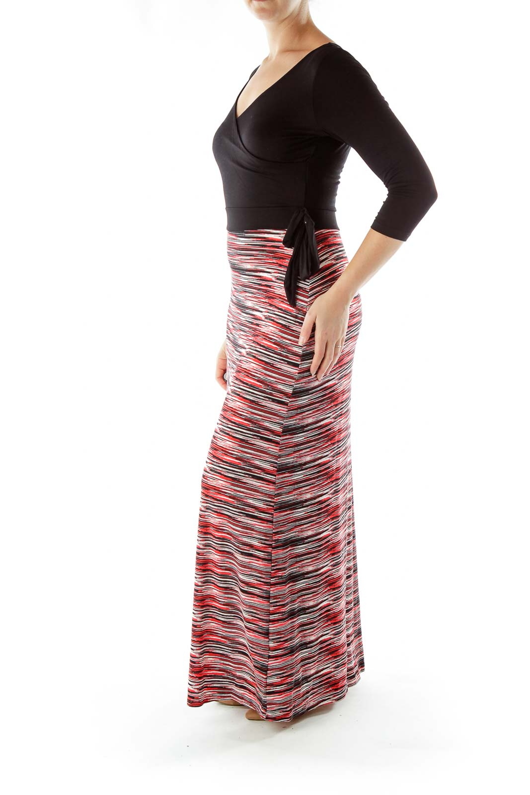 Black Red Long Sleeve Maxi Dress fafb2b7bb99cc
