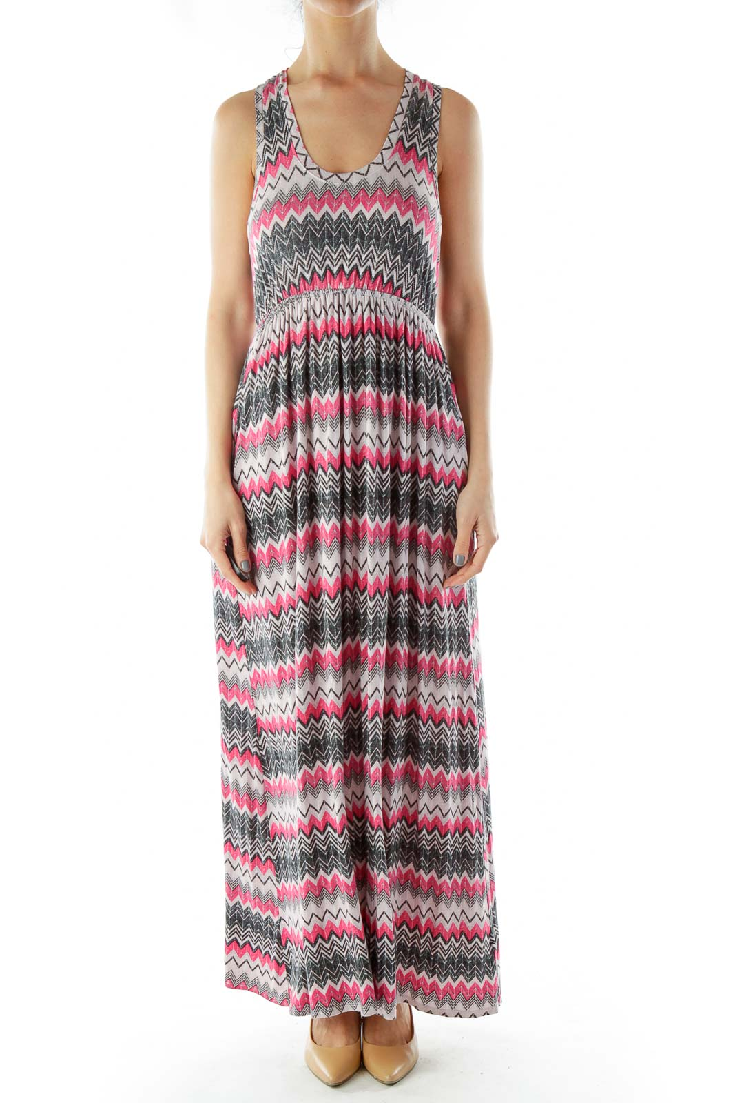 Pink Black ZigZag Maxi Dress