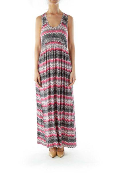 Pink Black ZigZag Maxi Dress
