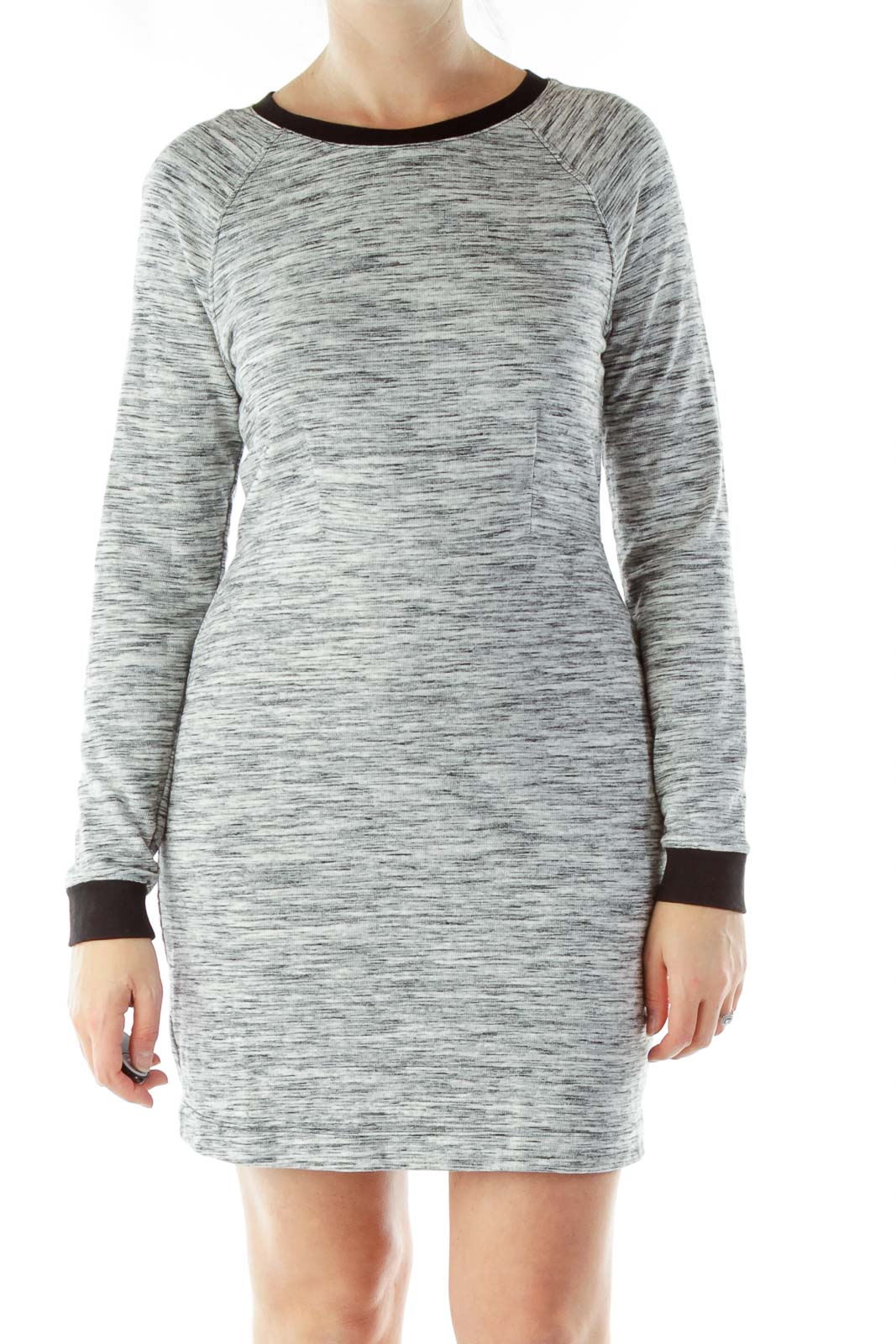 Gray Mottled Knit Dress