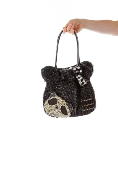 Black Rhinestone Skull Shoulder Bag