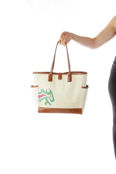 Beige Brown Embroidered Tote