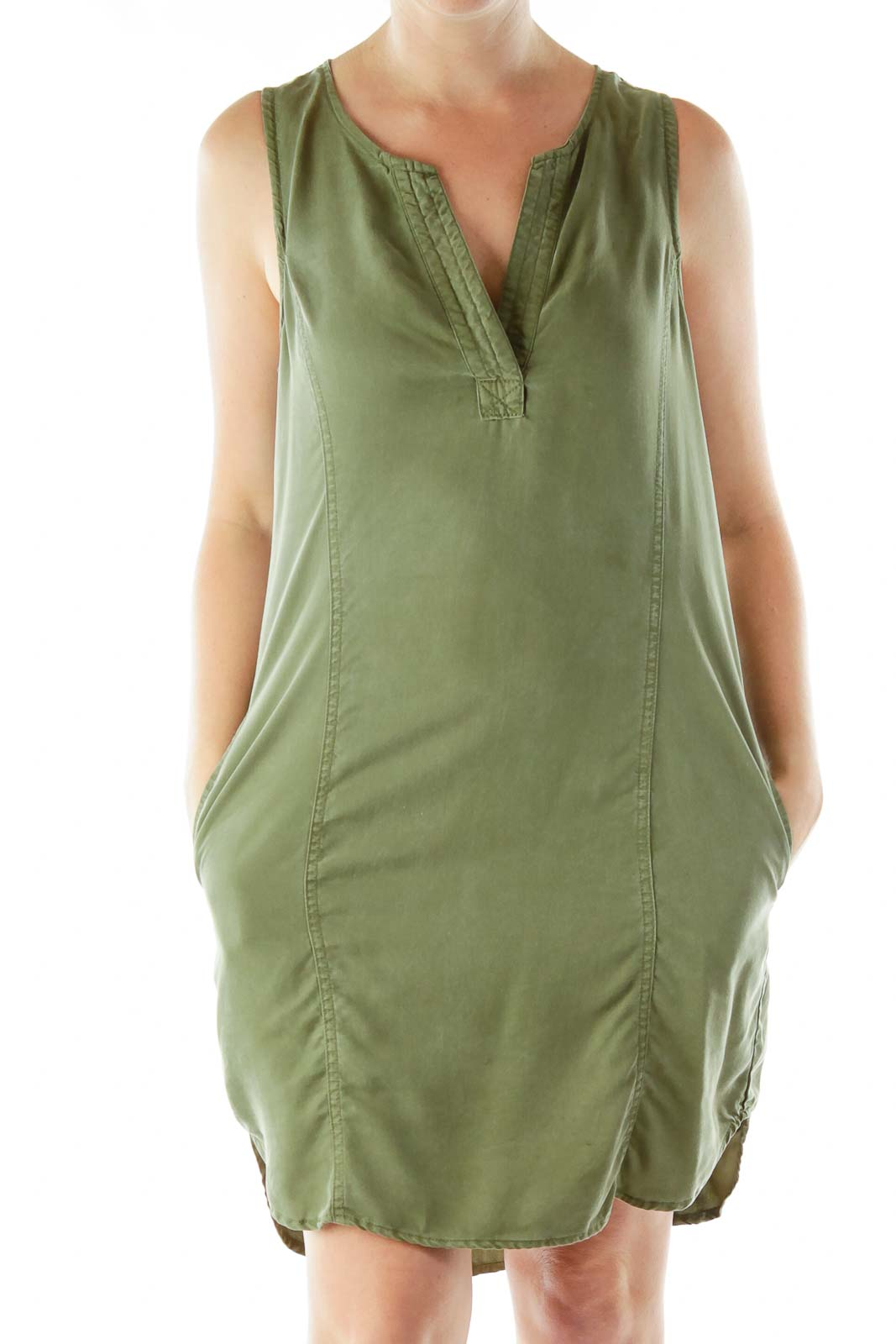 Green Denim Shift Dress