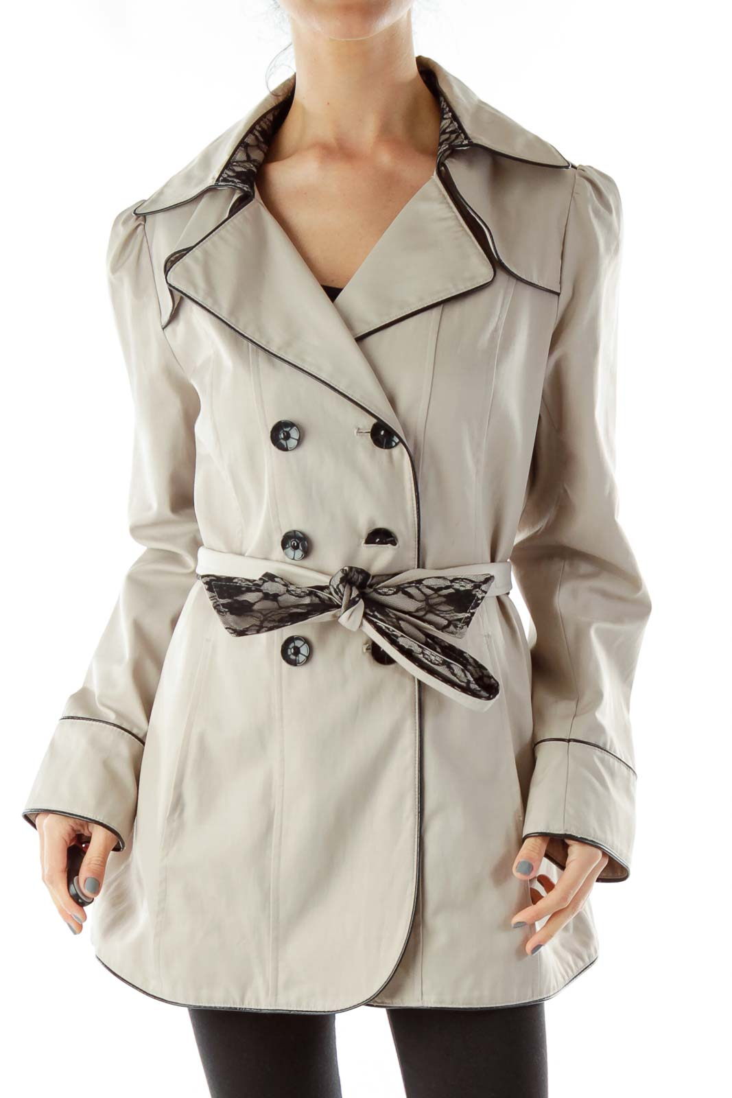 Beige Double Breasted Coat