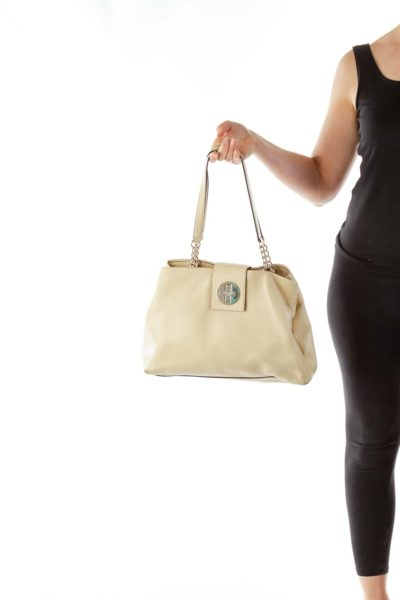 Beige Shimmer Shoulder Bag
