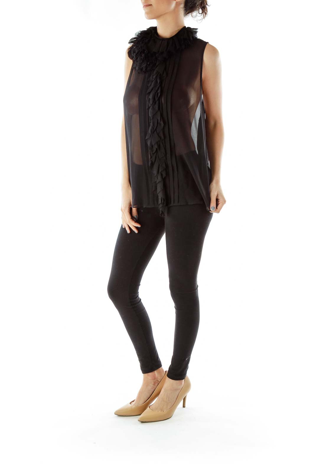 Black Sheer Sleeveless Blouse