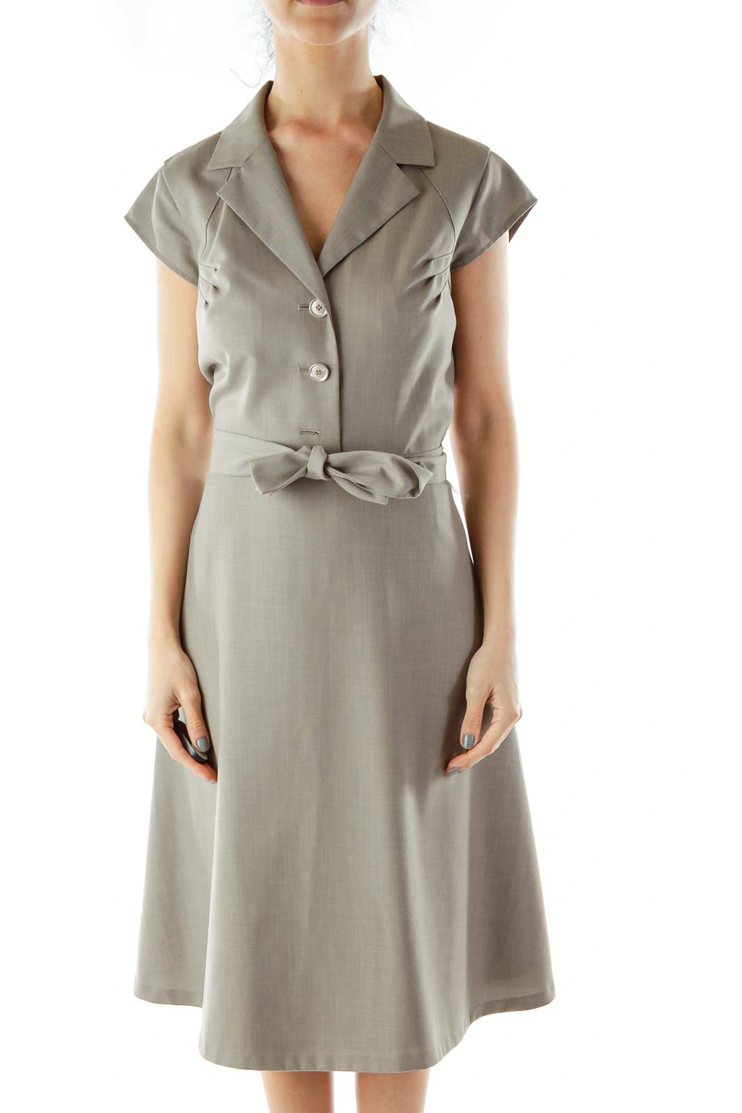Gray Collared Work Dress