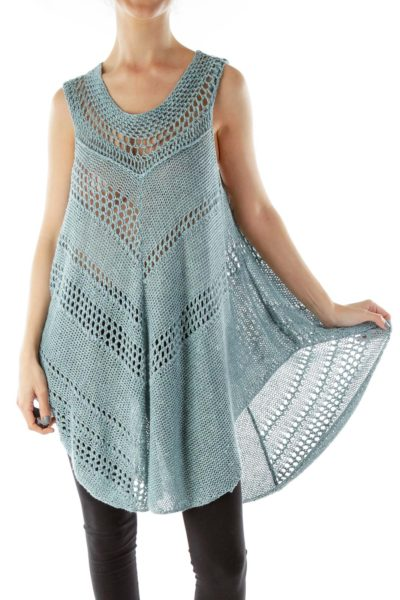 Blue Crocheted Knit Top