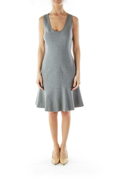 Gray A-Line Work Dress