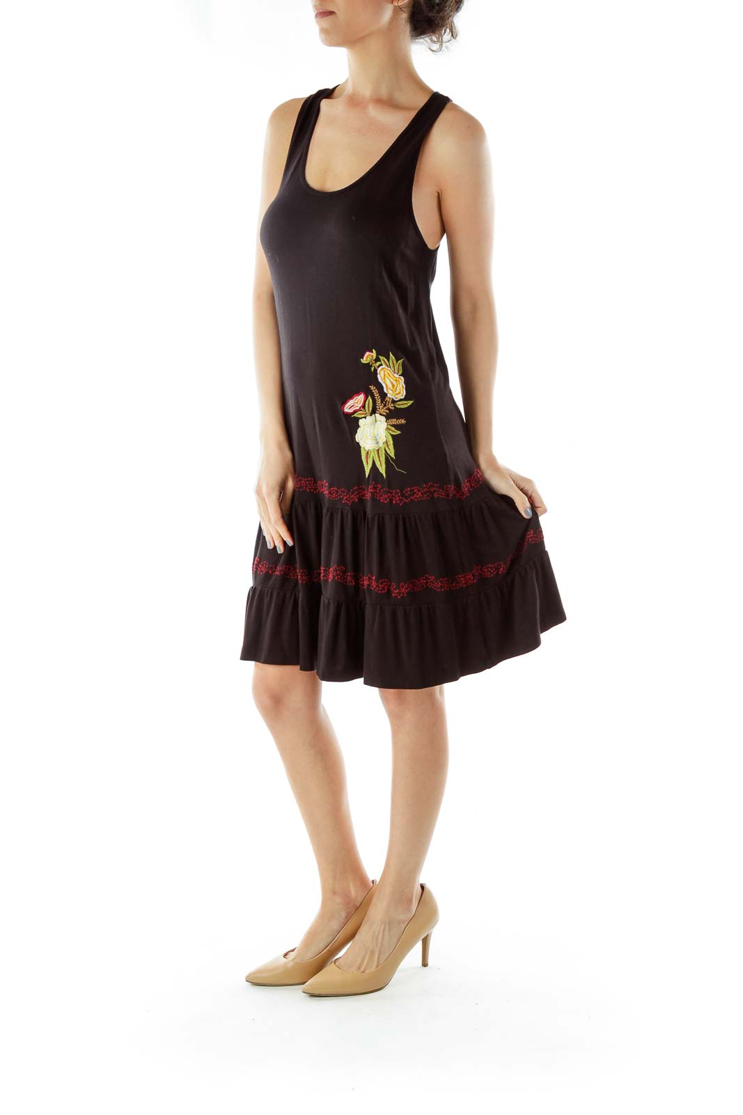 Black Embroidered Jersey Dress