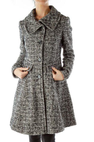 Black White Tweed Pea Coat
