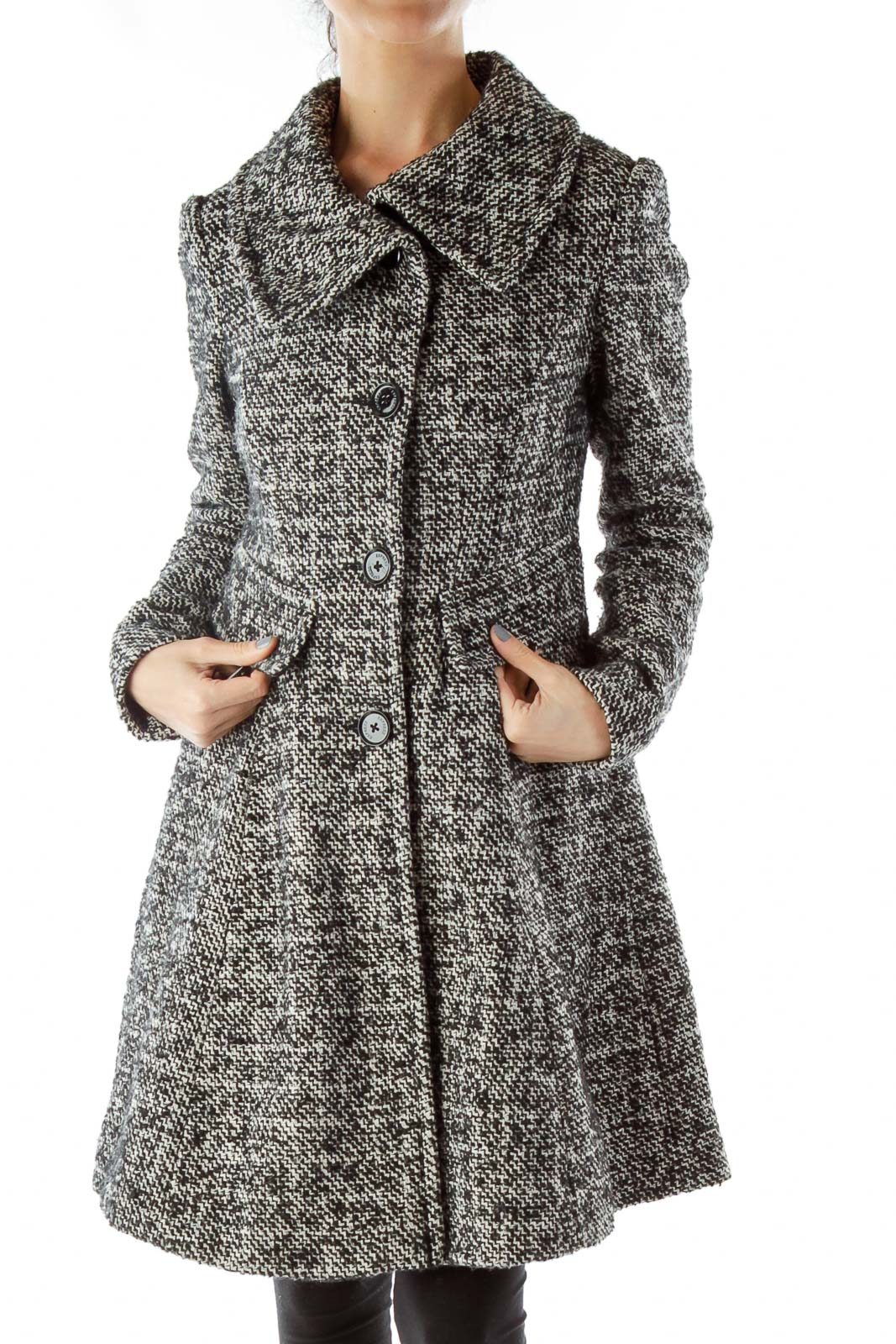 Black White Tweed Pea Coat