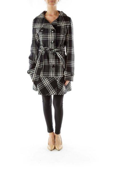 Black White Plaid Pea Coat