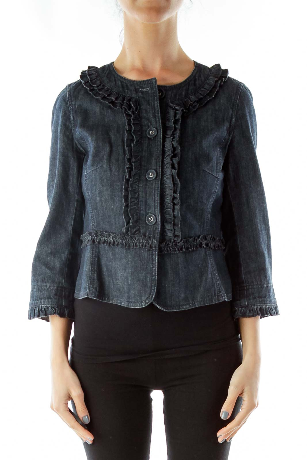 Blue Denim Ruffle Jacket