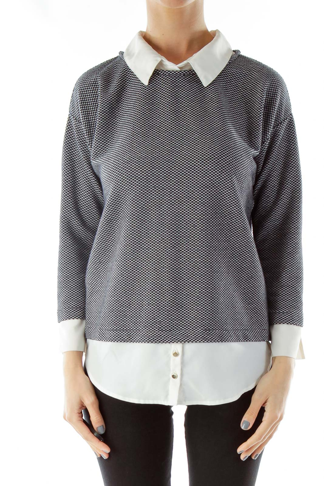 Navy Cream Sweater with Blouse