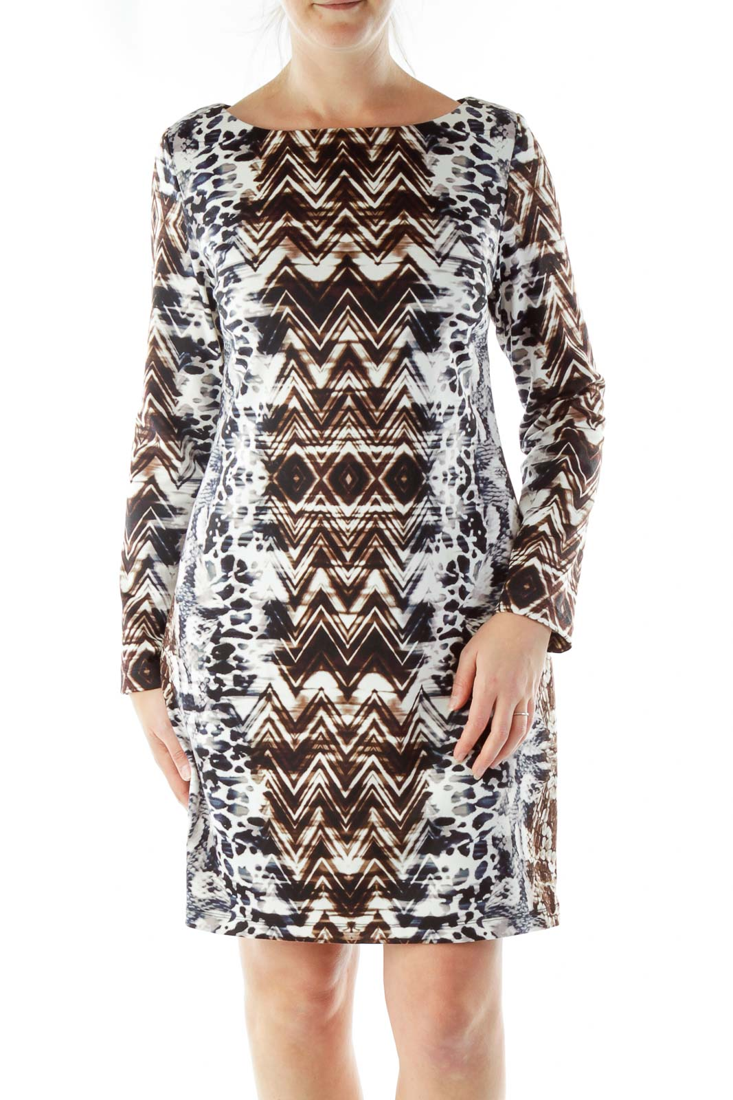 Blue Cream Brown Tie Dye Work Dress
