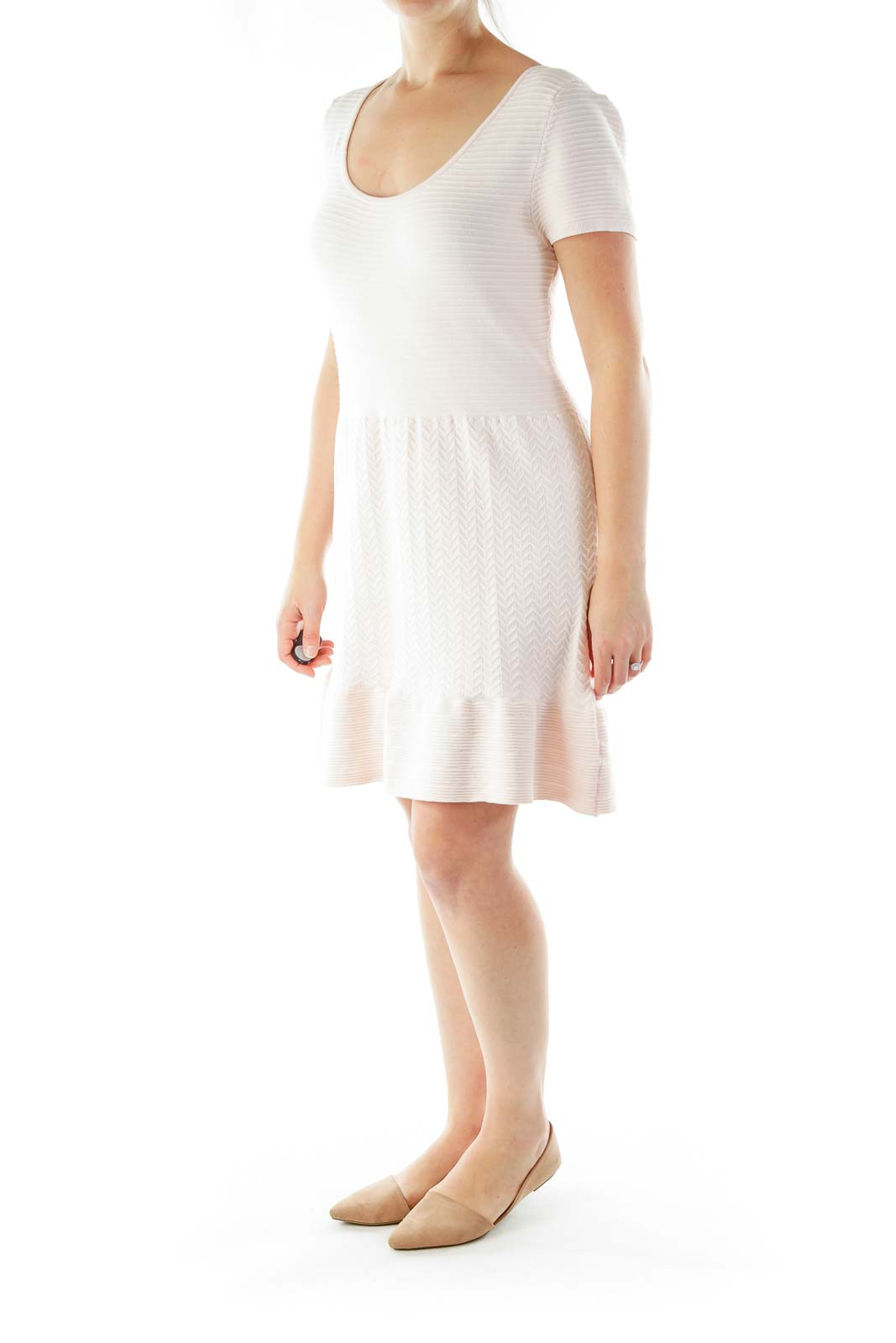 Pink Knit A-Line Dress