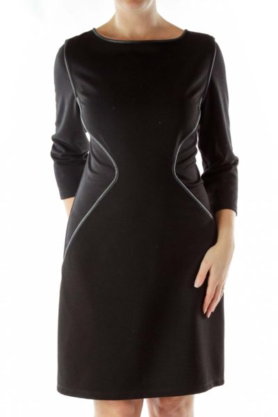 Black Textured Shift Dress
