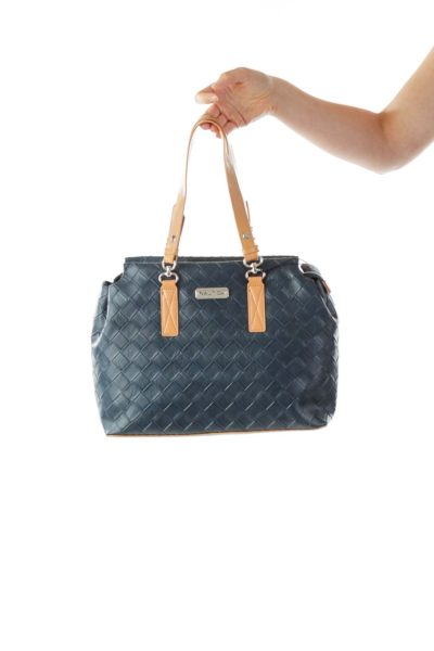 Navy Leather Shoulder Bag