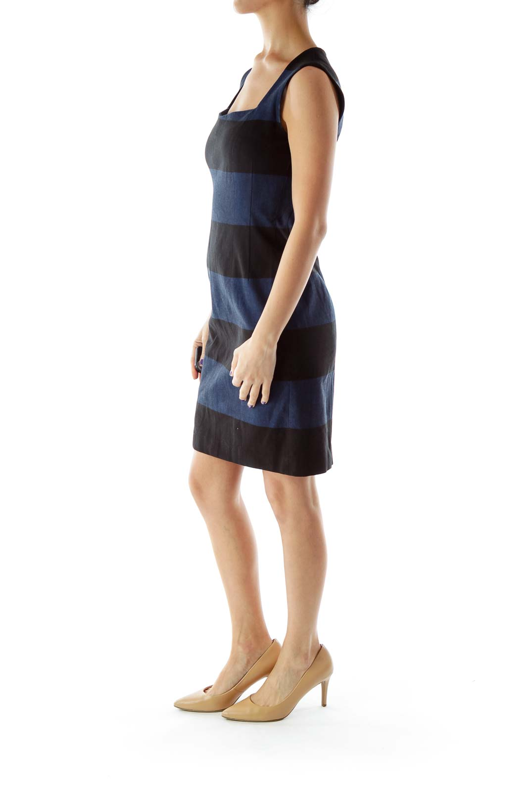 Black Blue Fitted Square Neck Dress