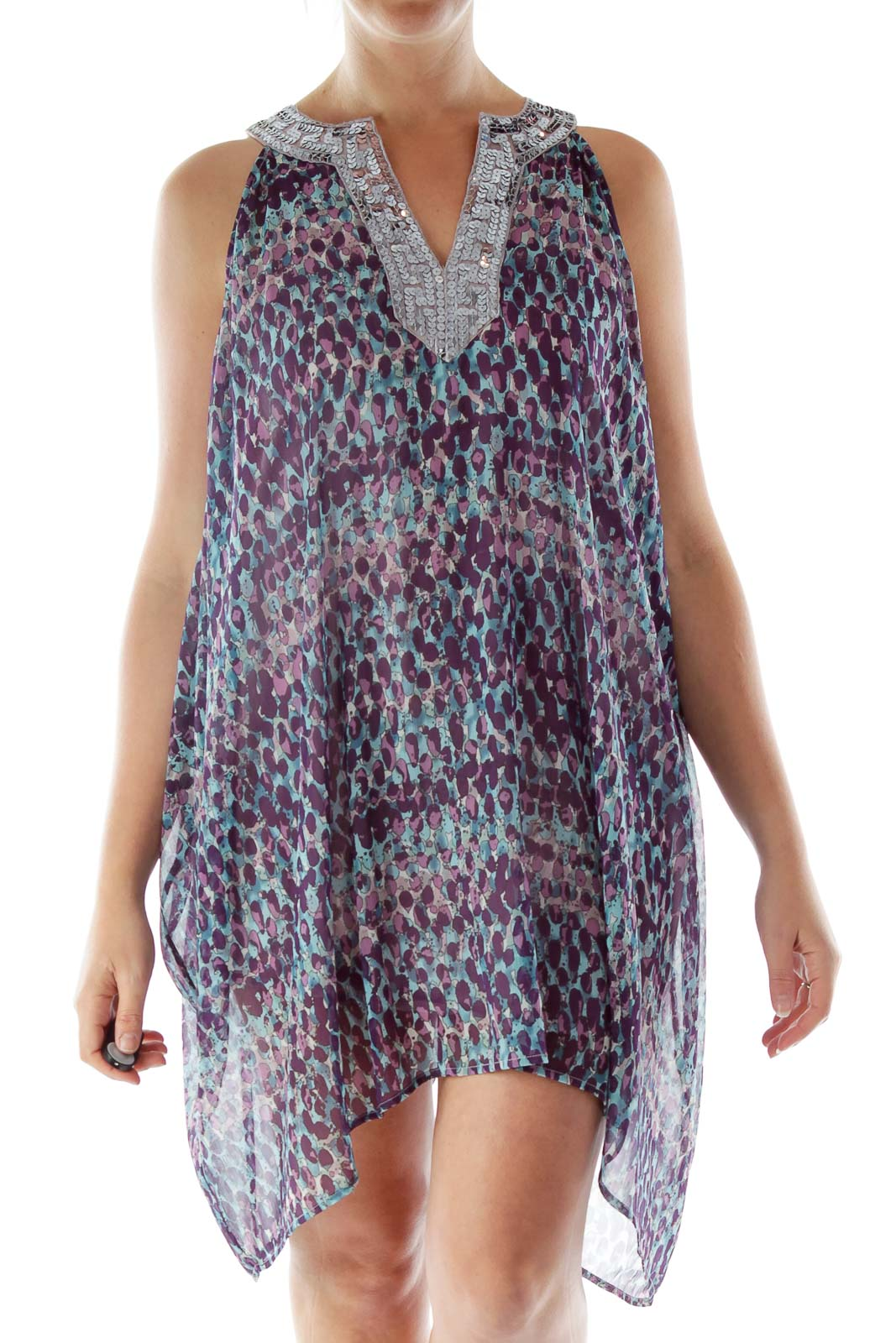 Purple and Blue Printed Sequined Dress
