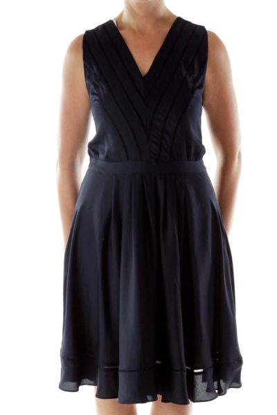 Navy V-Neck Trimmed Dress