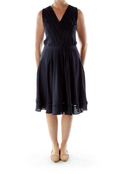Black V-Neck Trimmed Dress