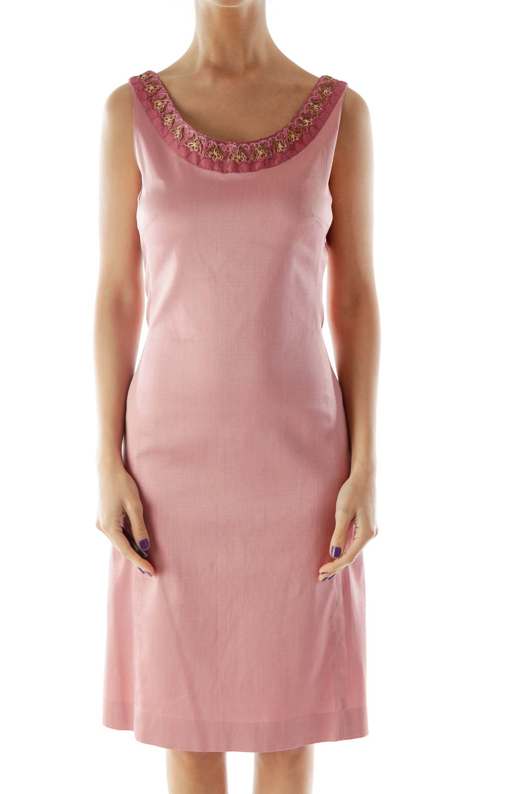 Pink Beaded Embroidered Dress
