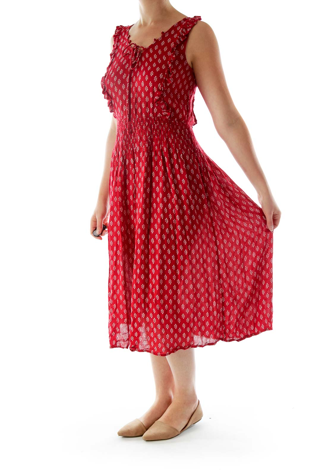 Red Printed Lace Up Dress