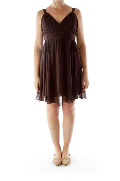 Brown V-Neck Chiffon Dress