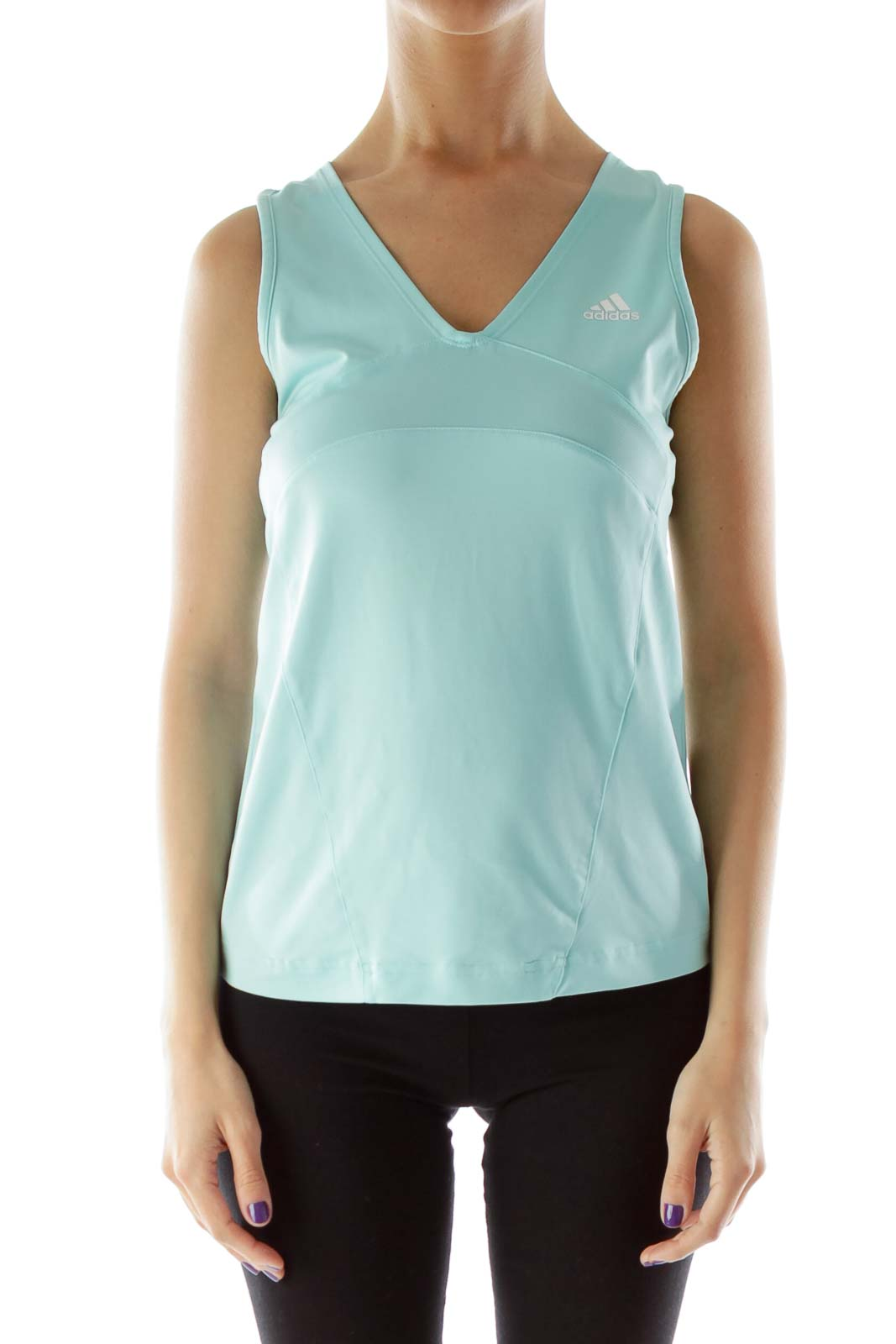 Blue Fitted V-Neck Athletic Shirt