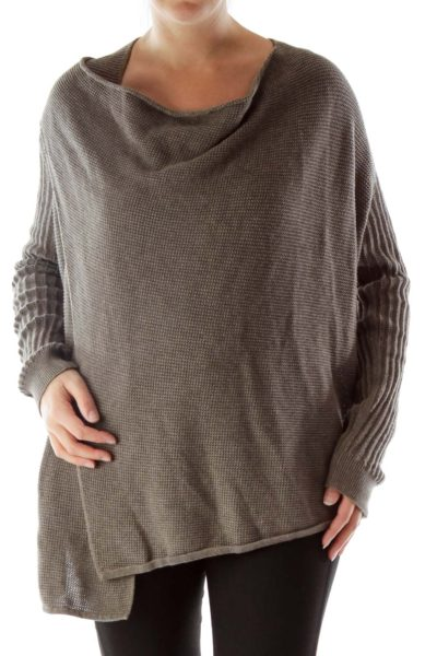 Brown Knitted Zippered Sweater