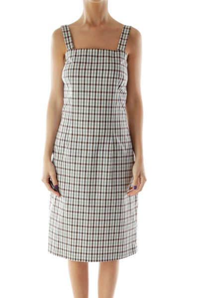 Beige and Brown Gingham Fitted Dress