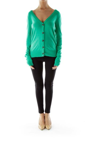 Green Buttoned Cardigan